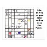 Tarjetas del rompecabezas de Sudoku Tarjeta Postal