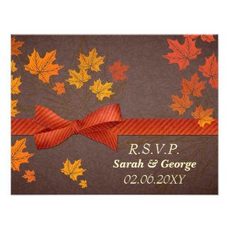 tarjetas del rsvp del boda de la caída comunicado personal