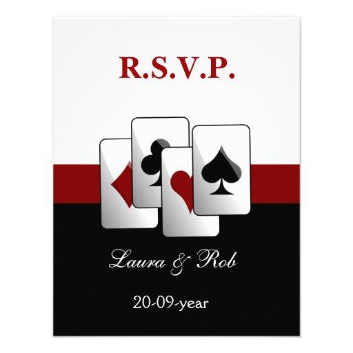 Tarjetas del rsvp del boda de Vegas Invitaciones Personalizada