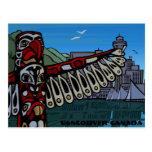 Tarjetas del tótem de Vancouver de la postal del a