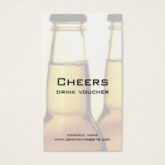 Tarjetas del vale de la bebida del restaurante o tarjetas de visita