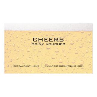 Tarjetas del vale y de la cupón de la bebida de la tarjetas de visita