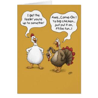 Tarjetas divertidas de la acción de gracias: Pollo