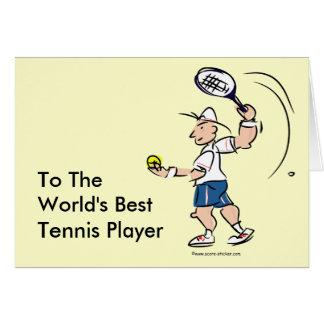Tarjetas divertidas del tenis para los hombres y