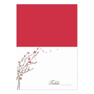 Tarjetas dobladas ramas florecientes del lugar - C Tarjetas De Visita Grandes