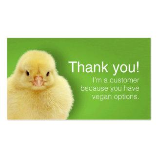 Tarjetas el patrón del vegano (inglesas) tarjetas de visita