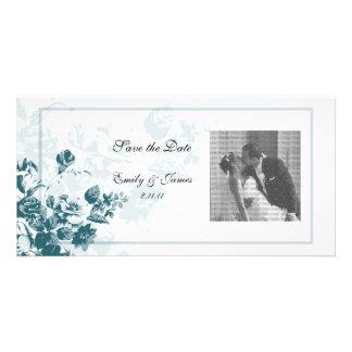 Tarjetas elegantes de la foto del boda de la flor  tarjeta fotografica