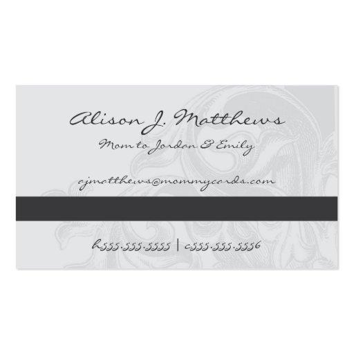 Tarjetas elegantes de la mamá de la voluta tarjetas de negocios