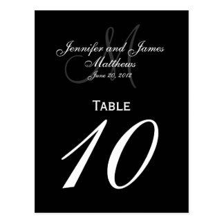 Tarjetas elegantes de la tabla del número del boda postal
