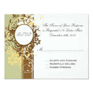 """Tarjetas elegantes de RSVP del vintage floral Invitación 4.25"""" X 5.5"""""""