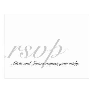 Tarjetas elegantes de RSVP para el gris blanco de  Postal