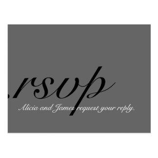 Tarjetas elegantes de RSVP para los bodas grises Postales