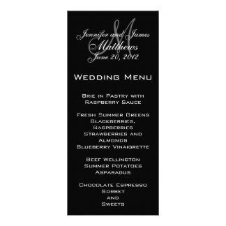 Tarjetas elegantes del menú del boda del monograma diseños de tarjetas publicitarias