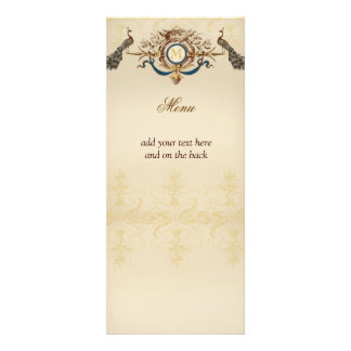 Tarjetas elegantes del menú del boda del pavo real anuncio