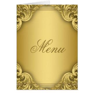 Tarjetas elegantes del menú del oro