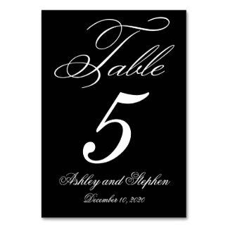 Tarjetas elegantes del número de la tabla del boda