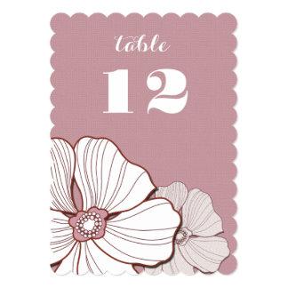 """Tarjetas elegantes del número de la tabla del boda invitación 5"""" x 7"""""""