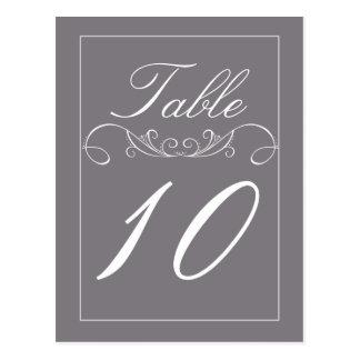 Tarjetas elegantes del número de la tabla del boda tarjetas postales