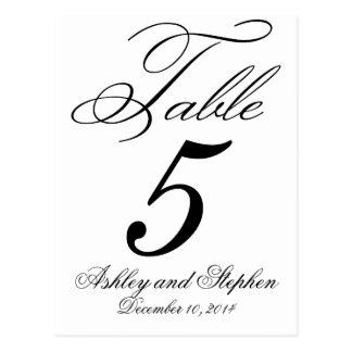 Tarjetas elegantes del número de la tabla del boda postales