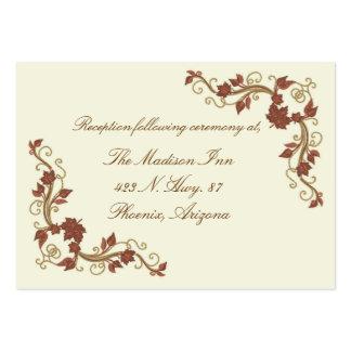Tarjetas elegantes del recinto del boda de la tarjetas de visita grandes
