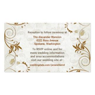Tarjetas elegantes del recinto del boda de la tarjetas de visita