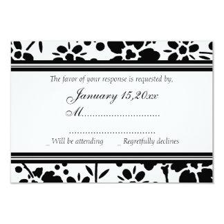 Tarjetas elegantes negras y blancas de RSVP que se Invitación 8,9 X 12,7 Cm