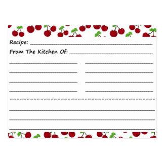 Tarjetas en blanco de la receta Cerezas Tarjetas Postales
