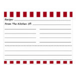 Tarjetas en blanco de la receta: Rayas rojas y bla Postales