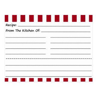 Tarjetas en blanco de la receta: Rayas rojas y Postal