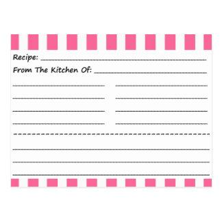 Tarjetas en blanco de la receta: Rayas rosadas y Postal