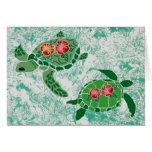 Tarjetas en blanco de la tortuga de mar de la flor