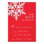 Tarjetas enormes de RSVP del copo de nieve (rojas) Invitación