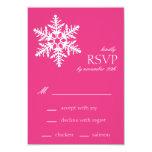 Tarjetas enormes de RSVP del copo de nieve (rosa Comunicado Personalizado