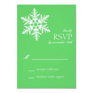 Tarjetas enormes de RSVP del copo de nieve (verde Comunicados Personales