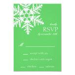 Tarjetas enormes de RSVP del copo de nieve (verde Invitación