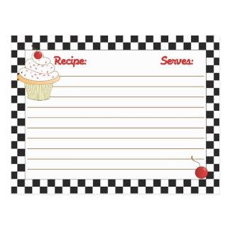 Tarjetas enviable por correo de la receta de la tarjeta postal