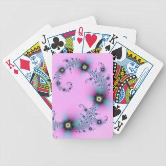 Tarjetas espirales azules y rosadas barajas