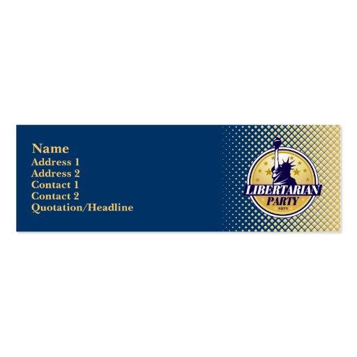 Tarjetas flacas del perfil del fiesta libertario tarjetas de visita mini