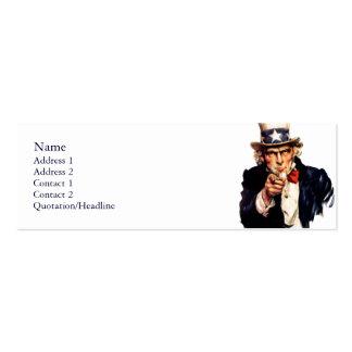 Tarjetas flacas del perfil del tío Sam Plantilla De Tarjeta Personal