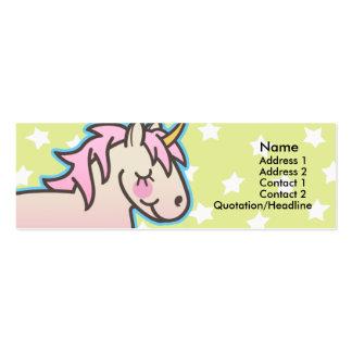 Tarjetas flacas del perfil del unicornio rosado de tarjetas de visita mini