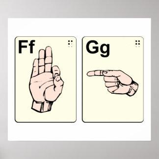 Tarjetas flash sucias del lenguaje de signos póster