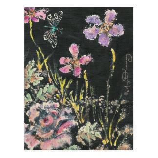 Tarjetas florales abstractas del arte postal