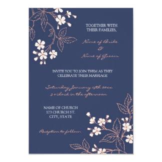 Tarjetas florales azules coralinas de la invitación 12,7 x 17,8 cm