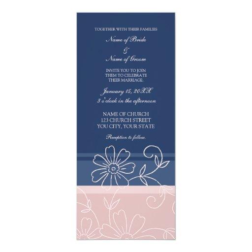 """Tarjetas florales azules y rosadas de la invitación 4"""" x 9.25"""""""