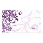 Tarjetas florales blancas púrpuras del lugar o del plantillas de tarjetas de visita