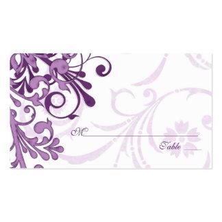Tarjetas florales blancas púrpuras del lugar o del tarjetas de visita