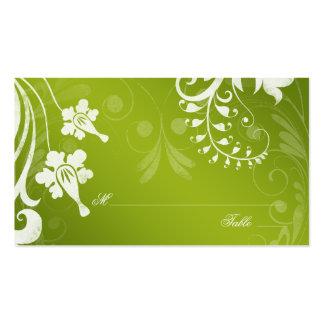 Tarjetas florales blancas verdes del lugar o del tarjetas de visita