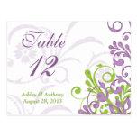 Tarjetas florales blancas verdes púrpuras de la ta