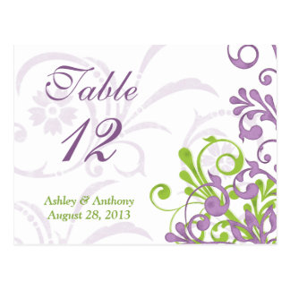 Tarjetas florales blancas verdes púrpuras de la postal