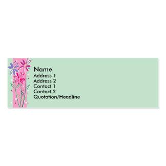 Tarjetas florales bonitas del perfil del borde tarjetas de visita mini